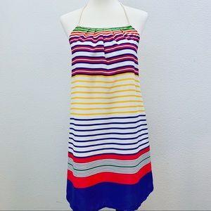 Zara Striped Almost Backless Mini Dress NWT
